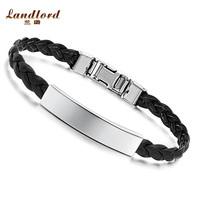 [Landlord] New Arrival leather bracelet men jewelry High Quality bracelets bangles 316L Titanium Stainless steel bracelet PH501