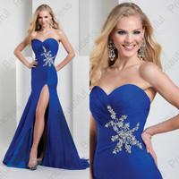 New Arrival Sweetheart Royal Blue Side Slit Beads vestidos de fiesta Sexy Prom Dresses 2014