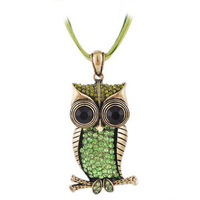 4 Colors Retro Antique Bronze Plated Full Crystal Cute Owl Pendant Necklace With Ribbon Chain