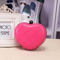New arrive women's mini heart clutch bag love heart bag with chain messenger bags 5colors choose Freeshipping
