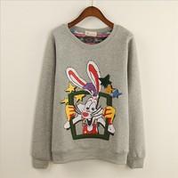 [Magic] funny long ear Rabbit new hoodies long sleeve o neck fleece inside 2014 fashion sweatshirts for women free shipping
