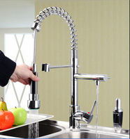 Wholesale And Retail Promotion Deck Mounted Chrome Brass Kitchen Faucet Dual Swivel Spouts Sink Mixer Tap Spring Faucet Tap