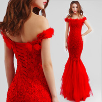 Red Evening Dress2014 new arrival bride married embroidery lace strapless sexy word shoulder fishtail plus size party dress