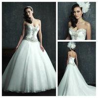 Elegant Sweetheart Handmade Beading White Organza Ruffle Wedding Dresses 2014 Old Fashioned Lace Up Corset