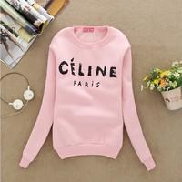 [Alice] 2014 new women cotton hoodies thin fleece inside long sleeve o neck letters sweatshirt for women 4 color free shipping