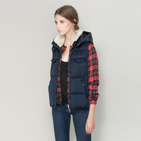 2014  Women with a hood fur collar patchwork knitted vest outerwear cotton-padded jacket wadded jacket autumn and winter