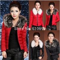 New Arrival Eiderdown Outerwear Long-Sleeved Lady Warm Fur Collars Eiderdown Cotton Coat High Quality Women's Coat