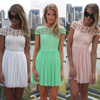 Superb! 1PC Women Sexy Halter Lace Hollow Party Chiffon Mini Dress Free Shipping&Wholesale Alipower
