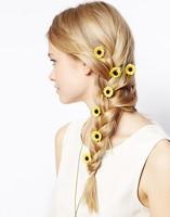 2014 New Women Brand Jewelry Western Charms Sweet Style Yellow Sunflower Fabric Lace Statement Hairpin Hair Jewelry Headwear
