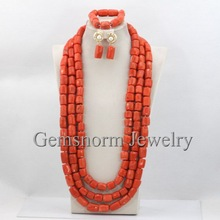 Luxury High Quality African Beads Necklace Set Red Coral Beads Jewelry Set Fashion Costume Jewelry Set