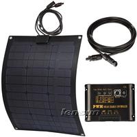 Fiberglass 50W Flexible Mono solar panel kit, 10A regulator/controller,10m MC4 cable, complete kit for motorhome,boats,UK STOCK!