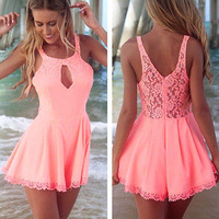 2014 New Summer Sexy Women Celeb Lace Pink Playsuit Evening Party Dress