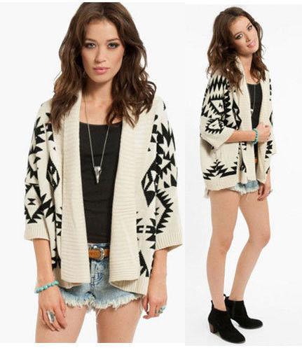 Women Aztec Oversized Open Front Loose Sweater Cape Cardigan Coat USA Seller(China (Mainland))