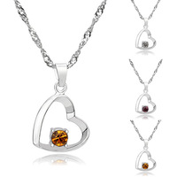 [Arinna Jewelry] 18K white gold plated necklaces heart Crystal Cubic Zircon pendant necklace for Women N1688