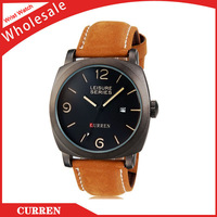 Free Shipping+CURREN Brand Men's Fashionable Water Resistant Wrist Watch With Calendar Function & Faux Leather Band