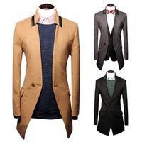 Wool Jacket men's warm woolen overcoat slim fit men's leisure trench outerwear male coat wholesale B063 2014 winter hot sell
