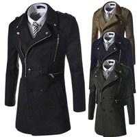 Free shipping 2014 New Men's Wool trench Coat, Winter Men Double Breasted Overcoat, Men's multi zippers decoration wool coat
