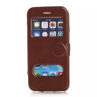 """For iphone 6 Air 6G 4.7"""" TPU Caller ID Leather Wallet stand pouch Open Window purse holder case holster phone cases 2pcs"""