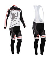 Road new arrival !! 2014 Castelli cycling jersey long sleeve and cycling bib pant set castelli cycling clothing 2014 gray