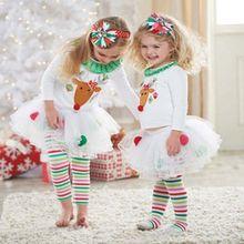2-7Y CHRISTMAS Kids Baby Girls Long Sleeve Top + Legging Tutu Dress Outfits Sets(China (Mainland))