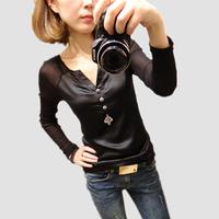 New Spring Summer 2014 Women Casual Chiffon Gauze Patchwork Blouses Short /Long Sleeve shirts Tops For Women Clothing
