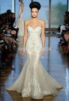 Mermaid Sweetheart Zipper Lace Applique Tulle Open Back Backless Designer Wedding Dresses Bridal Wear Chapel Train Free Shipping