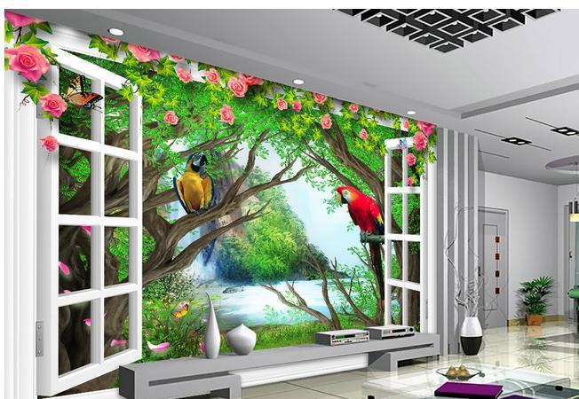 Papel De Parede Forest Falls Parrot Rose Vine White Window