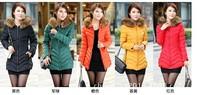 2015 5Colors M-3XL new women's winter down  jacket female medium-long slim wadded jacket coat outerwear down coat