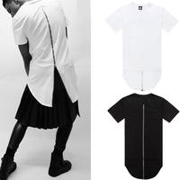2014 new Men t shirt tyga cool oversized Gold side zipper hip hop extended t-shirt tee top hba pyrex casual plus size XXXL tops