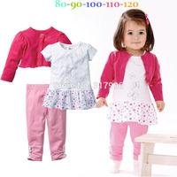 Free shipping Spring Autumn girls short jacket + dress + pants set,girl cotton clothing set,fashion clothing set,5sets/lot