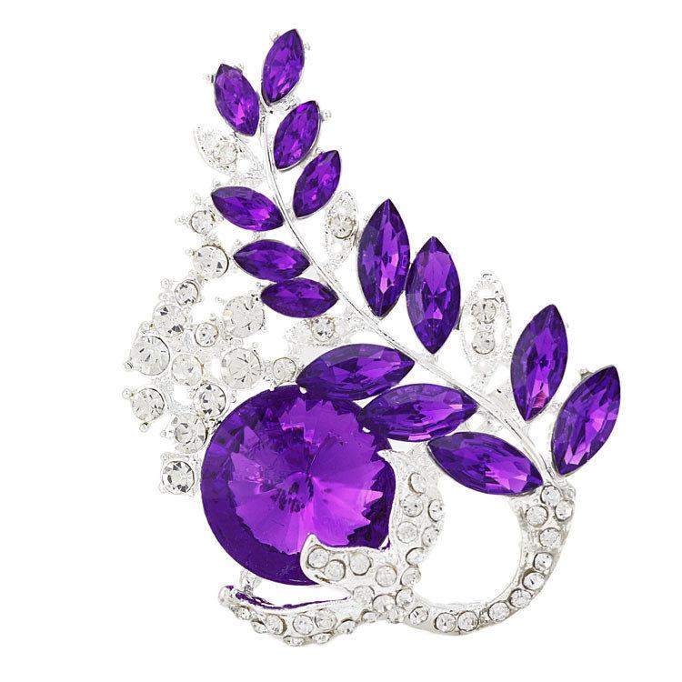 Promotion Fashion Vintage Brooch Crystal Rhinestone Purple & Blue Flower Bride Brooch Pins Women Wedding Brooch ,Free Shipping(China (Mainland))