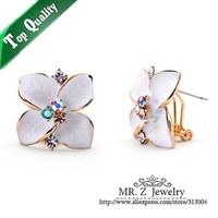 Free Shipping Elegant Women Rhinestone Flower White Enamel Earrings Fashion Jewelry