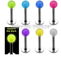 Free Shipping! UV acrylic glow in the dark  lip ring labret uv Body Jewelry
