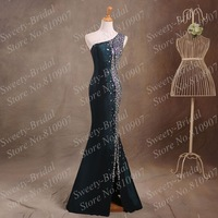 Trumpet Evening Dresses Actual Picture Dark Green Taffeta Bling Bling Crystals One-Shoulder Mermaid Evening Prom Gown 7A383