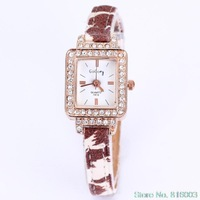 Women dress quartz watch leather band fashion leopard rose gold square with crystal diamonds new arrival global free shipping