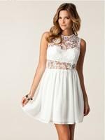 Women Brand Chiffon Lace Patchwork Dress Sleeveless Halter Bra Sexy Dresses Evening Party Beach Princess Mini Dress White Color