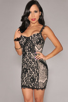2014 New Women Sexy Eelgant Bustier Sheath Black Lace Cocktail Dress Mini Short Party Dress 21653 Nude and Black Lace Prom Dress
