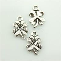 100pcs 17mm clover charms antique silver tone pendant