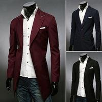 2014 Jacket men's long slim fit overcoat  men's leisure trench outerwear male coat wholesale B066 winter hot sell