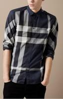 Hot Sale Classic Men Fashion England Designer Long Sleeve Big Plaid Shirts/High Quality Designer Check t-shirt SIZE S--XXL