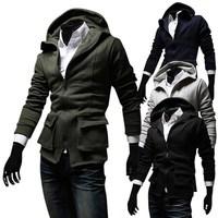 Free shipping 2014 new hot sale autumn pocket decoration men hoodie casual slim with a hood men sweatshirt  men outerwear coat