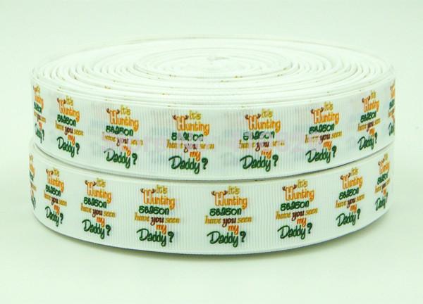 "WM wholesales/oem ribbon 140827004 7/8inch 22mm ""Hunting Season"" Printed grosgrain ribbon 50yds/roll free shipping(China (Mainland))"
