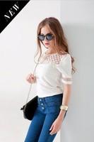 Fashion Women Lace Chiffon Patchwork Blouse Lace Hollow Beading Sexy Shirts White Women Tops Big Yards Loose Slim Shirt Blusas