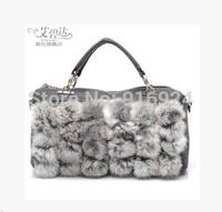 Free shipping Euro style Retro Round Rabbit bag women's colors pillow handbags fashion warm shoulder& messenger bags