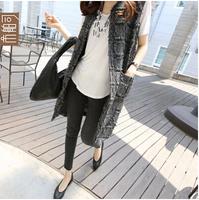 2014 plaid tassel pocket straight vest outerwear