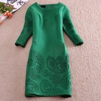 Roupas Femininas Women casual Dress 2014 Fashion Vintage Elegant Office casual Dresses winter autumn Plus Size Dress SY1975