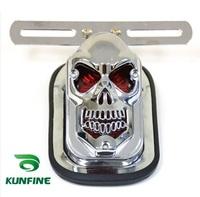 Motorcycle Chrome Rear Fender Custom DIY 3D Skull Skeleton Integrated Rear Tail Light With LED Turn Signal Lamp KF- R005
