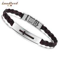 [Landlord] Brand New Fashion men jewelry 316L Stainless Steel Bracelet Buckle Black & Brown Belt Carven Cross Bracelets PH509