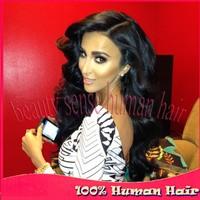 2014 Autumn New arrival 180% black women long wavy 100% real human hair Peruvian U part Virgin hair wigs side part on left