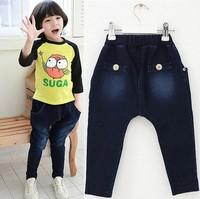 2014 new autumn paragraph solid color jeans trousers boy